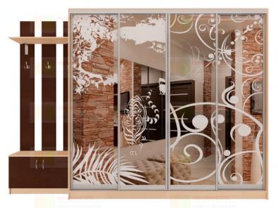 Шкаф-купе 4-х дверный с пескоструйным рисунком Модерн 460 К10