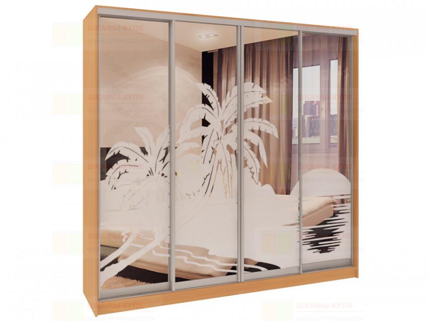 Шкаф-купе 4-х дверный с пескоструйным рисунком Модерн 460